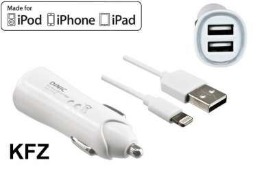 DINIC iPhone KFZ Ladeadapter + Lightning Kabel, 12V, 2x USB 5V 3100mA, MFI zertifiziert