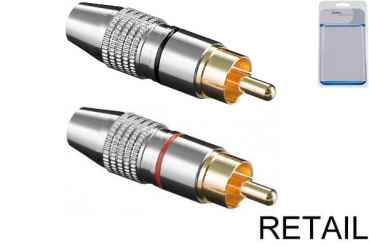 RCA Cinch Stecker high quality, 2 Stk Metall, vergoldete Kontakte, für 6,5mm Kabel